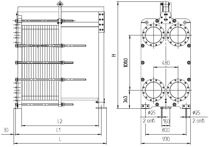Пластинчатый камерный теплообменник чертеж теплообменник канальный цена